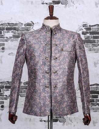 Printed terry rayon grey jodhpuri blazer
