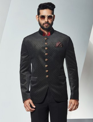 Printed terry rayon party wear jodhpuri suit