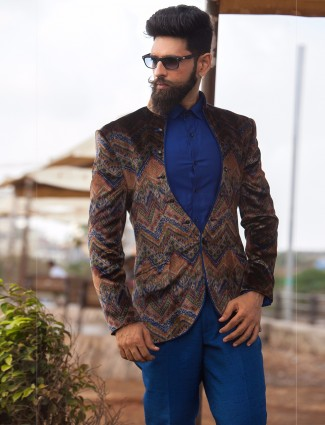 Printed velvet brown johpuri suit