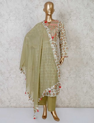 Printed white and olive cotton palazzo suit