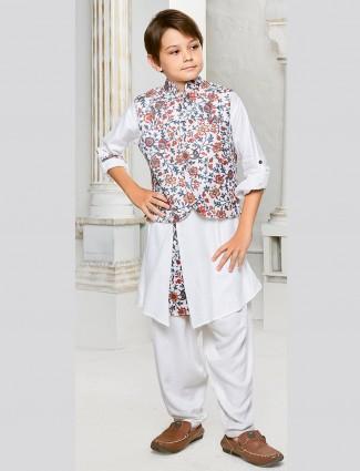 Printed white color waistcoat set