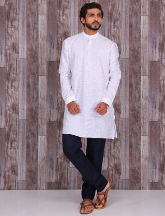 Printed white cotton linen kurta suit