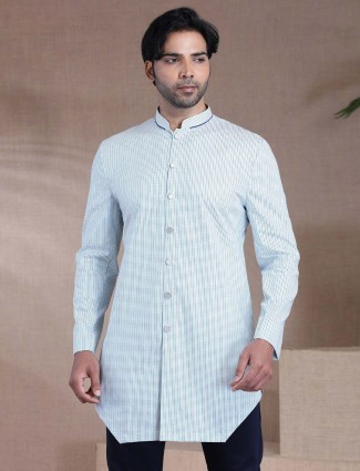 Printed white cotton short kurta for mens