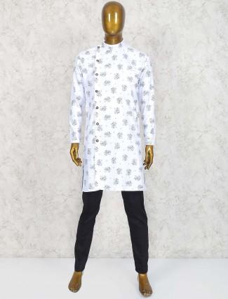 Printed white festive wear kurta suit