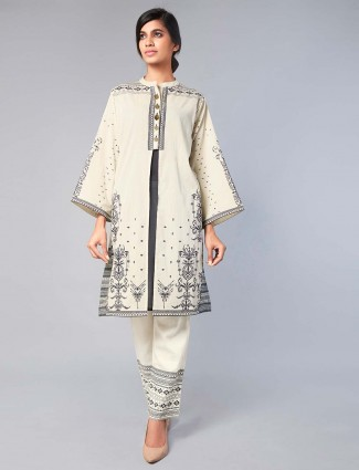 Printed white punjabi salwar suit in cotton