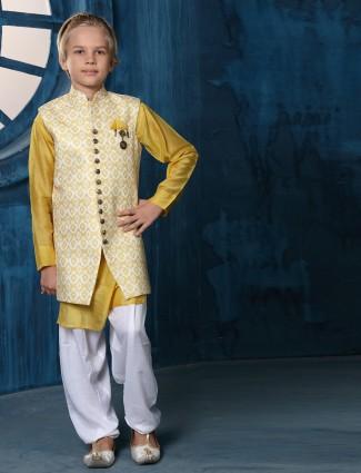 Printed yellow cotton waistcoat set