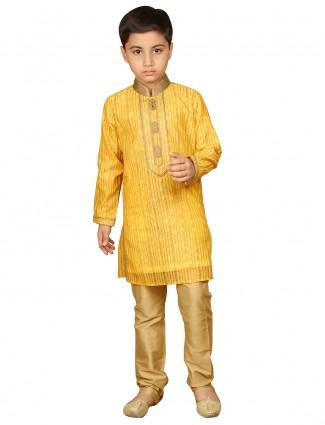 Printed yellow silk boys kurta suit