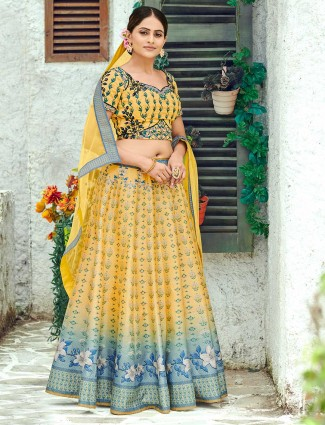 Printed yellow silk semi stitched lehenga choli for wedding