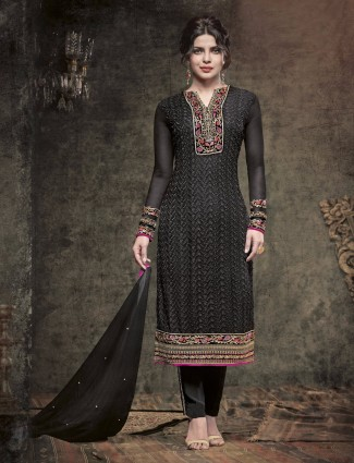 Priyanka Chopra black party wear ready made wonderful faux georgette salwar suit