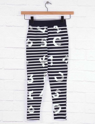 Pro Energy black and white stripe casual jeggings in cotton