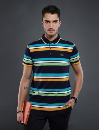 Psoulz casual stripe multicolour t-shirt