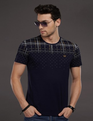 Psoulz casual wear printed navy t-shirt