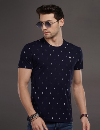 Psoulz mens printed navy cotton t-shirt