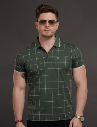 Psoulz slim fit green checks t-shirt
