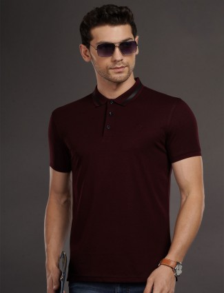 Psoulz wine maroon solid casual t-shirt