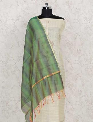 Punjabi cotton dress material in beige