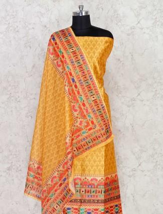 Punjabi cotton dress material in yellow color