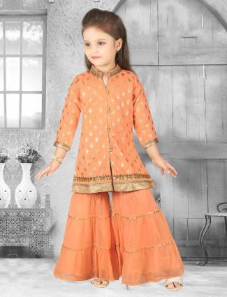 Punjabi palazzo suit in orange color