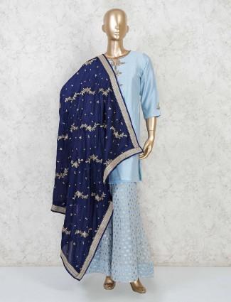 Punjabi palazzo suit in sky blue cotton silk