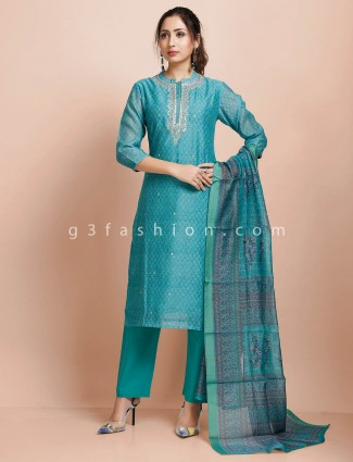 Punjabi pant suit in cotton teal green color
