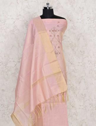 Punjabi pink dress material in cotton