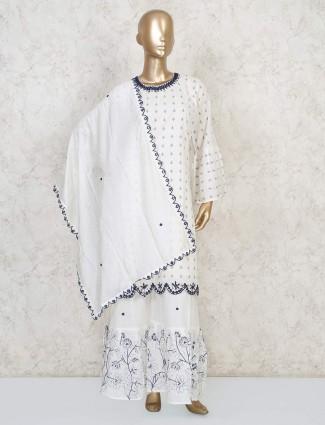 Punjabi printed sharara suit in white cotton
