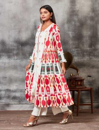 Punjabi salwar suit in off white hue