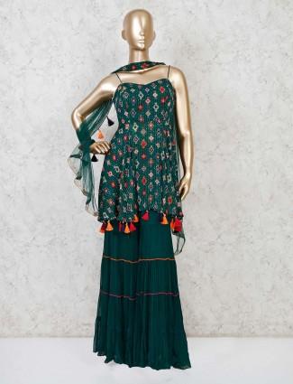 Punjabi sharara green georgette suit