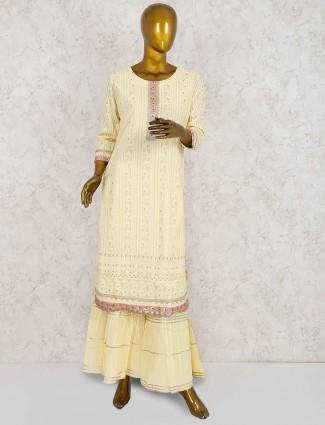 Punjabi sharara suit in cream color
