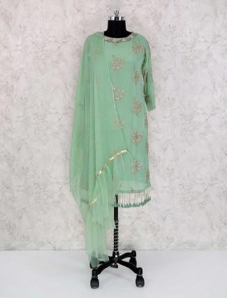 Punjabi style green palazzo suit