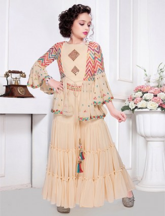 Punjabi style peach georgette party wear sharara suit