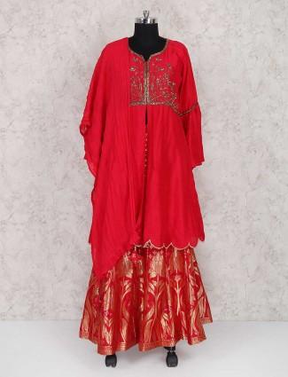 Punjabi style red color silk lehenga cum salwar suit