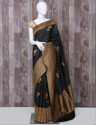 Pure banarasi silk black color saree