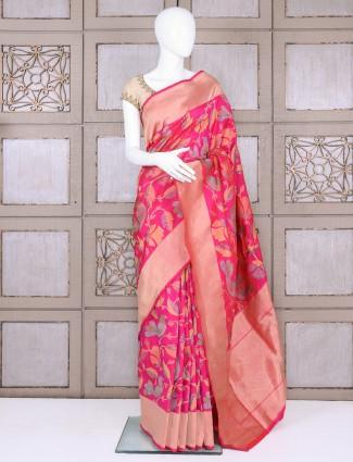 Pure banarasi silk classic magenta bridal saree