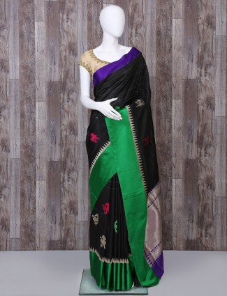Pure banarasi silk designer black saree