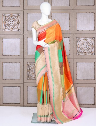 Pure banarasi silk designer orange saree