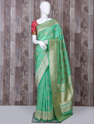 Pure banarasi silk light green color saree
