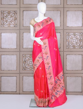 Pure banarasi silk magenta bridal saree