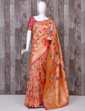 Pure banarasi silk orange color saree