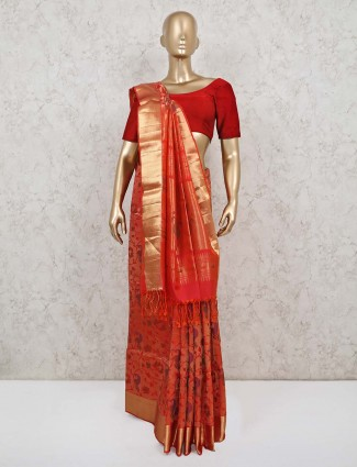 Pure banarasi silk orange saree for wedding