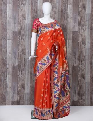 Pure banarasi silk paithani orange color saree