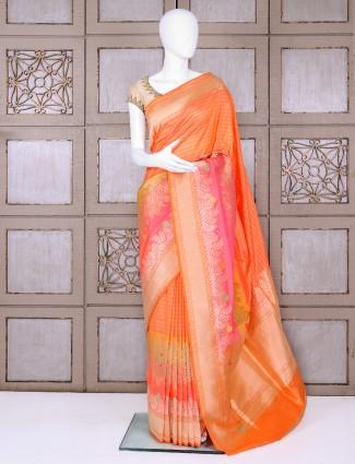 Pure banarasi silk peach saree