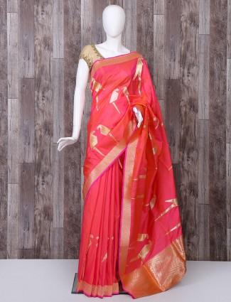 Pure banarasi silk pink color saree