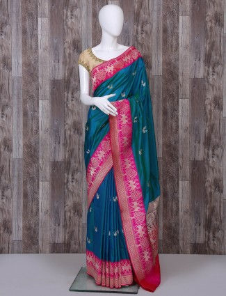 Pure banarasi silk rama green saree