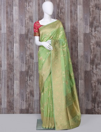 Pure banarasi silk saree in pista green