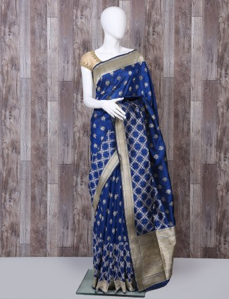 Pure banarsi silk royal blue saree