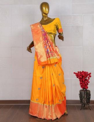 Pure kanjivaram saree in yellow color