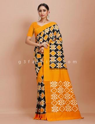 Pure mul cotton black mustard festive wear printed saree