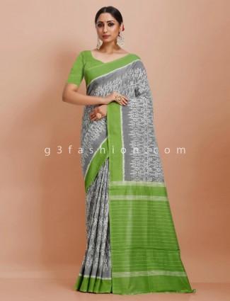 Pure mul cotton festive wear grey and green contrast pallu saree