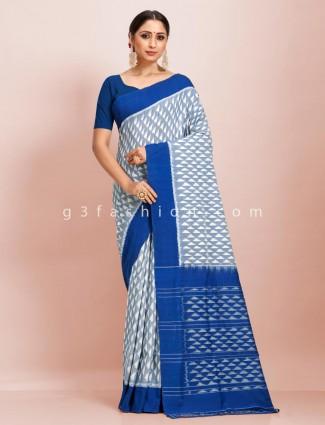 Pure mul cotton festive wear white and blue printed saree